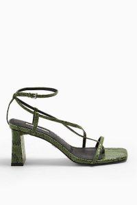 TOPSHOP NICO Green Set Back Heels / strappy snake sandals