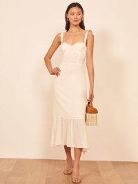 Reformation Nikita Dress in Ivory | frill hem summer dresses