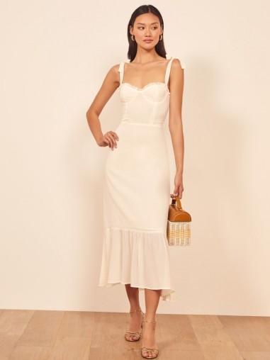 Reformation Nikita Dress in Ivory | frill hem summer dresses