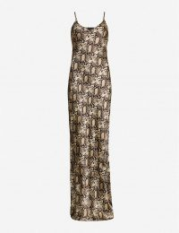 NILI LOTAN Snakeskin-print silk dress in dark brown snake print | maxi slip dresses