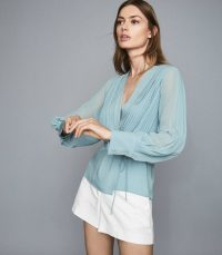 REISS NOLA WRAP FRONT BLOUSE BLUE ~ feminine style blouses