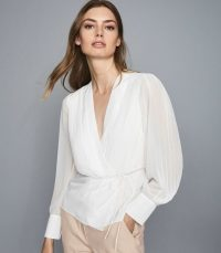 Reiss NOLA WRAP FRONT BLOUSE IVORY | pleat detail blouses