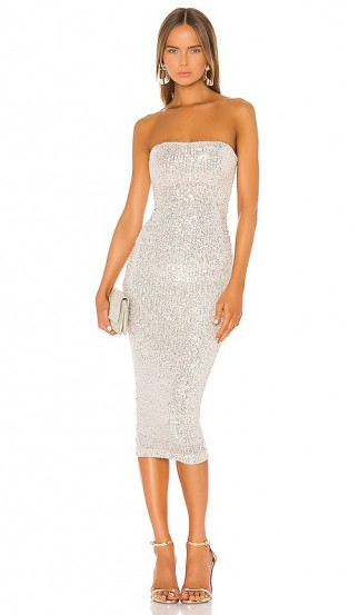 Nookie Fantasy Midi Dress Silver | party glamour