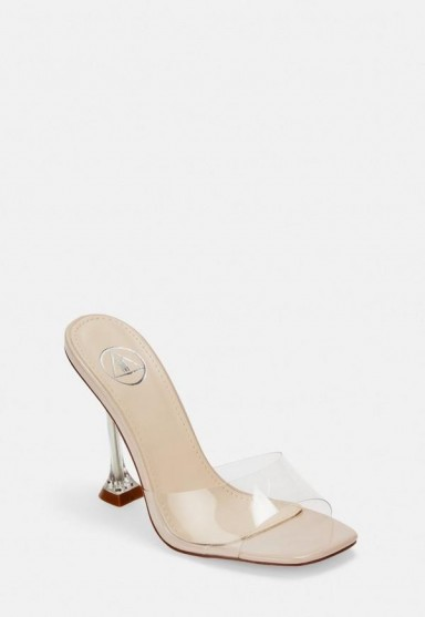 Missguided nude clear feature heel mules | party heels