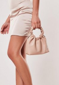 Missguided nude faux leather ruched bag | small top handle bags