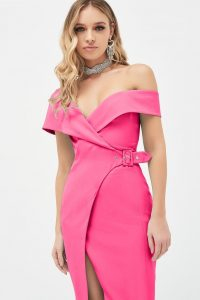 LAVISH ALICE off shoulder buckle detail wrap dress in fuchsia ~ pink asymmetric party dresses