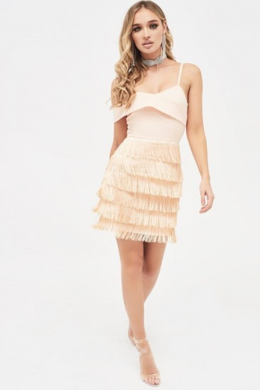 LAVISH ALICE off shoulder fringe mini dress in nude ~ shimmy party dresses