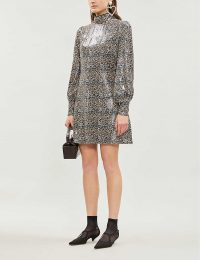 OLIVIA RUBIN Melissa leopard print sequinned mini dress ~ sequin embellished high neck dresses