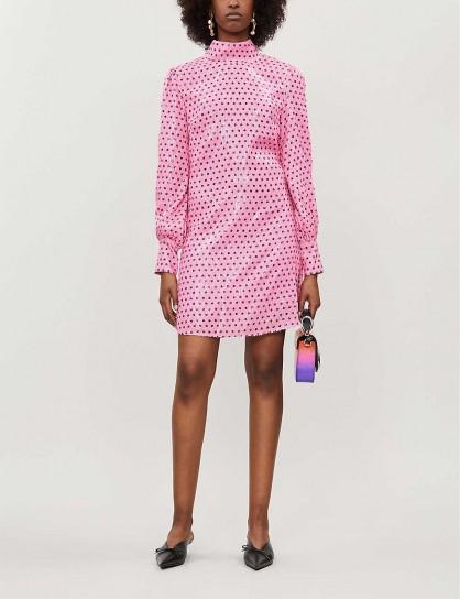 OLIVIA RUBIN Melissa polka dot-pattern sequinned mini dress in pink / bright high neck shift / retro fashion