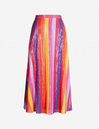 OLIVIA RUBIN Penelope high-waist striped sequinned midi skirt rainbow stripe