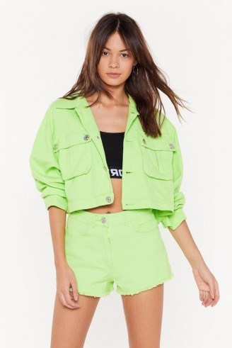 NASTY GAL On Crop of the Game Utility Jacket in Lime - flipped