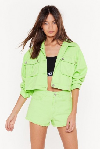 NASTY GAL On Crop of the Game Utility Jacket in Lime