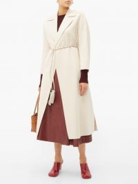 MAX MARA STUDIO Oncia cream coat ~ cord-belt wrap coats
