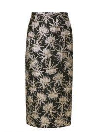 ROCHAS Oncidium metallic-jacquard pencil skirt ~ luxe floral skirts
