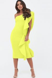 LAVISH ALICE one shoulder scuba exaggerated frill midi dress in neon yellow ~ bright and bold