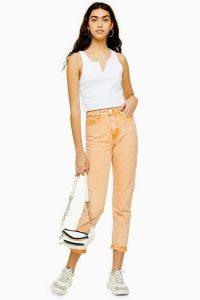 Topshop Orange Acid Wash Mom Jeans   summer denim