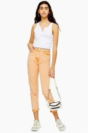 Topshop Orange Acid Wash Mom Jeans | summer denim - flipped