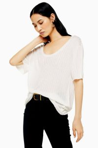 Topshop Oversized Rib Knitted T-Shirt in Ivory | slouchy scoop neck tee