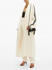 HAIDER ACKERMANN Oversized ribbon-sleeve open coat in cream ~ luxe coats ~ effortless style