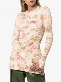 Paco Rabanne Long-Sleeved Ribbed Floral Knit Top