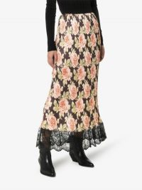 Paco Rabanne Rose Print Midi Skirt ~ floral lace trimmed skirts