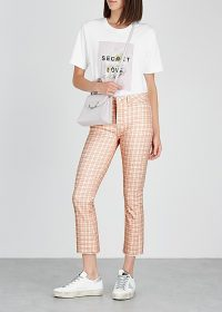 PAIGE Colette cream and pink checked cropped jeans