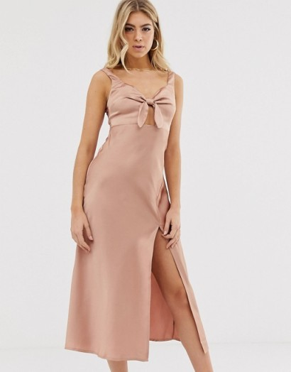 Parallel Lines bow front satin slip dress with thigh split in rose pink – high slit going out dresses