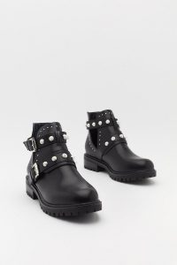 NASTY GAL Pearl Embellished Biker Boots in Black