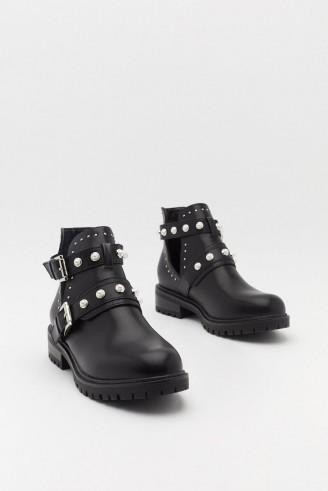 NASTY GAL Pearl Embellished Biker Boots in Black