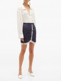 CHRISTOPHER KANE Pearl-drop fringe satin mini skirt in navy ~ luxe blue embellished skirts