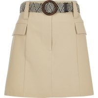 River Island Petite beige belted mini utility skirt