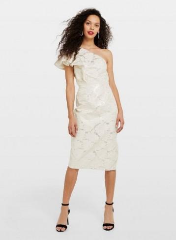 Miss Selfridge PETITE White Jacquard Midi Dress | one shoulder ruffle dresses