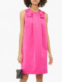 ROCHAS Piastra Radsmir bow-front satin dress in fuchsia-pink ~ vintage look clothing