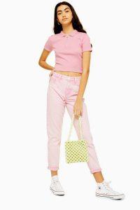 TOPSHOP Pink Acid Wash Mom Jeans – girly denim