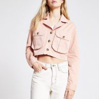 RIVER ISLAND Pink cropped utility jacket