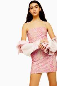 TOPSHOP Pink Diamond Sequin Mini Dress – glittering strappy dress