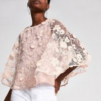 RIVER ISLAND Pink floral embellished cape top – feminine semi sheer fashion