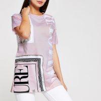 RIVER ISLAND Pink print diamante embellished T-shirt – printed jersey tee