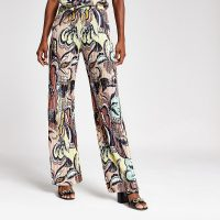RIVER ISLAND Pink swirl plisse wide leg trousers – bold prints