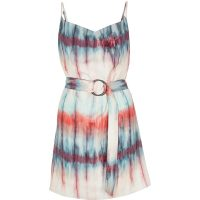RIVER ISLAND Pink tie dye cowl neck belted slip dress