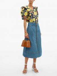 SEA Piper zipped blue denim midi skirt | wide waistband skirts