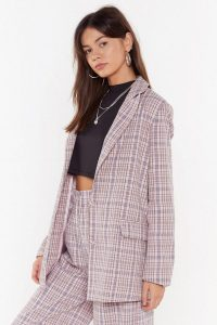 NASTY GAL Plaid It So Good Oversized Check Blazer in Pink – checked jackets