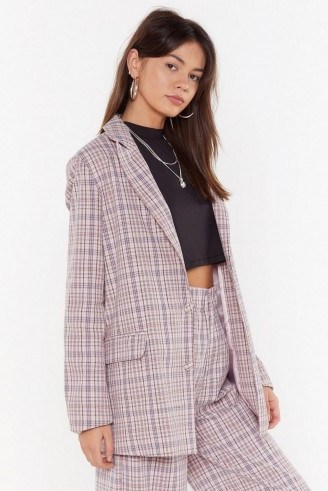 NASTY GAL Plaid It So Good Oversized Check Blazer in Pink – checked jackets - flipped