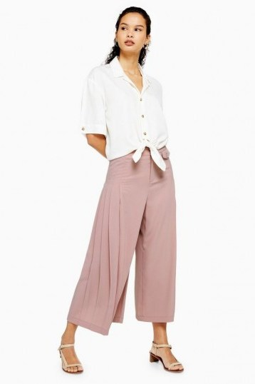 Topshop Pleat Crop Wide Trousers in Blush | pink cropped leg pants - flipped