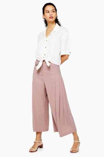Topshop Pleat Crop Wide Trousers in Blush | pink cropped leg pants