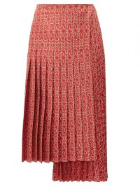 FENDI Pleated gate-print silk-twill skirt in red ~ asymmetric panel skirts
