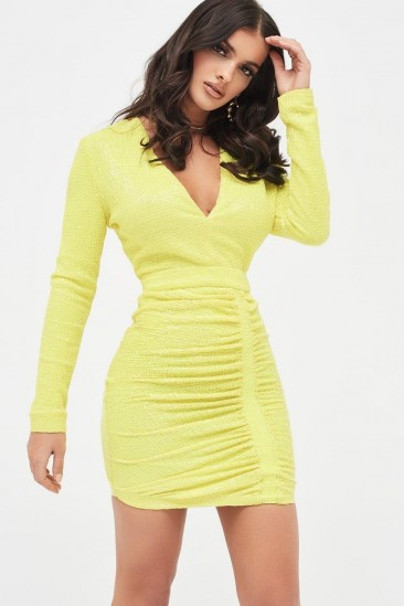LAVISH ALICE pleated sequin mini dress in acid yellow ~ bright colour party dresses ~ ruched design