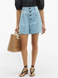 SEE BY CHLOÉ Pleated-waist high-rise denim shorts ~ retro summer clothing