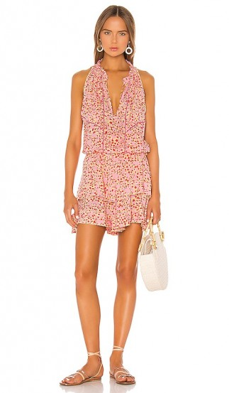 Poupette St Barth Amora Layered Mini Dress Pink Papilon