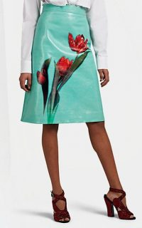 PRADA Rose-Graphic Leather A-Line Skirt in Light-Green / Red ~ luxe floral skirts